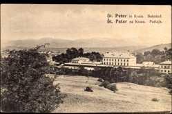 Postcard Pivka St. Peter Krain Slowenien, Bahnhof, Postaja
