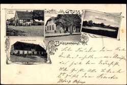 Ak Briesenhorst Neumark Ostbrandenburg, Gasthof Schulz, Schulhaus, Herm. Klinke