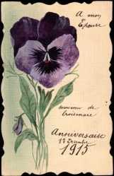 Handgemalt Ak Croismare, Stiefmütterchen, Anniversaire 1915