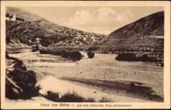 Postcard Veles Mazedonien, Blick aus dem fahrenden Zug auf den Ort