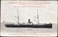 Postcard Paquebot Tafna, Compagnie de Navigation Mixte, Touache