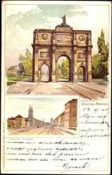 Künstler Litho Landzettel, K., München, Ludwig Straße, Siegestor