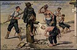 Künstler Ak Thiele, Arthur, Soldatenleben, Gesundheitspflege, Wasserpumpe
