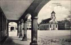 Postcard Ludwigsburg, Blick auf den Marktplatz, Häuserfassaden, Arkaden