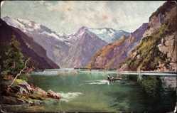 Künstler Ak Tuggenberger, Schönau am Königssee, Ruderboot