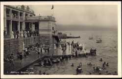 Postcard Opatija Abbazia Kroatien, Bagno Italia, Menschen beim baden, Seebad Quiwa