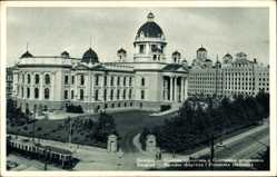 Postcard Belgrad Serbien, Narodna skupstina i Postanska stedionica, Straßenbahn