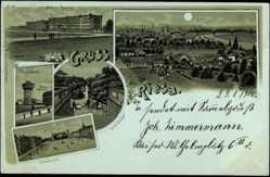 Mondschein Litho Riesa an der Elbe, Artilleriekaserne, Wasserturm, Albertplatz