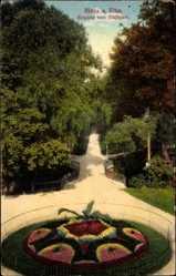 Postcard Riesa Elbe, Eingang zum Stadtpark, Blumenanlagen