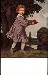 Künstler Ak von Zumbusch, Ludwig, Herbst, Junge mit Apfel