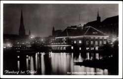 Postcard Hamburg, Nachtaufnahme, Der weltbekannte Alsterpavillon