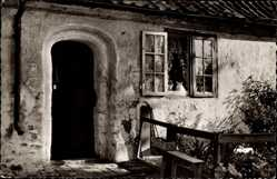 Postcard Ahrensburg Holstein, An den Gottesbuden, Eingang, Katzen, Fensterläden