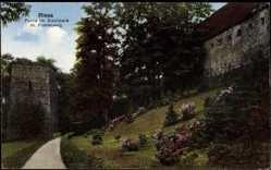 Postcard Riesa an der Elbe Sachsen, Partie am Stadtpark mit Poetenweg