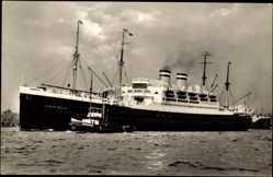 Postcard Dampfschiff Albert Ballin, HAPAG, Schleppschiff