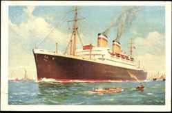 Künstler Ak Dampfschiff Hamburg und New York, HAPAG