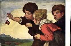 Künstler Ak Zumbusch, Ludwig von, Kinder fangen Schmetterling
