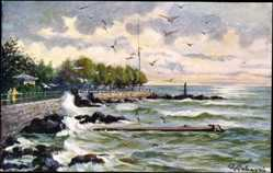 Künstler Ak Opatija Abbazia Kroatien, Scirocco, Wellenschlag an der Küste