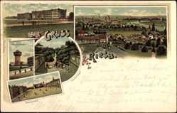 Litho Riesa an der Elbe Sachsen, Artillerie Kaserne, Parkfreitreppe, Albertplatz