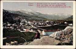 Postcard Cetigne Montenegro, Blick vom Osten auf den nördlichen Teil