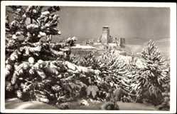 Postcard Trenčín Trencsén Trentschin Slowakei, Hrad, Burg im Schnee, Winter