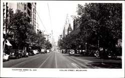 Ansichtskarte / Postkarte Melbourne Australien, Blick in die Collins Street, Fahrzeuge