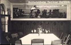 Foto Ak Zayécar Serbien, Soldatenheim, Offizierszimmer