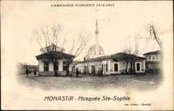 Postcard Bitola Mazedonien, Mosquee Ste Sophie, Minarett, Straßenpartie, Kuppeldach