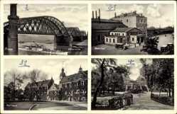 Postcard Riesa an der Elbe Sachsen, Bahnhof, Rathaus, Albertpark