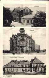 Postcard St. Ingbert, Ansicht vom Bahnhof, Postamt, Knappschafts Krankenhaus