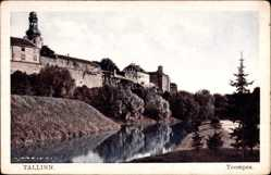 Postcard Tallinn Reval Estland, Toompea, Flusspartie, Mauern, Turm