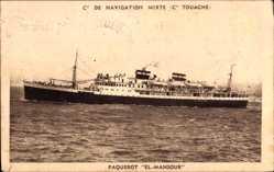 Postcard Paquebot El Mansour, Compagnie de Navigation Mixte, Touache