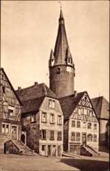Postcard Ottweiler im Kreis Neunkirchen Saarland, Häuser mit altem Turm