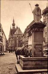 Postcard St. Wendel in Saarland, Blick auf den Dom am Wendelinusbrunnen