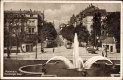 Postcard Mannheim in Baden Württemberg, Heidelberger Straße, Straßenbahn, Brunnen