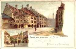 Künstler Litho Landzettel, K., München, Hofbräuhaus, Straßenansicht, Passanten