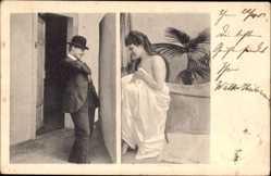 Ansichtskarte / Postkarte Frau in Unterwäsche, Spanner, Lange Unterhosen, Erotik, Badewanne