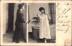 Ansichtskarte / Postkarte Frau in Unterwäsche, Spanner, Weißes Kleid, Erotik, Badewanne