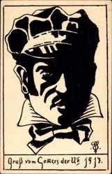 Studentika Ak Gruß vom commers der U II 1917, Student, Portrait