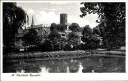 Postcard Mönchengladbach, Wasserpartie mit Blick auf den Geroplatz
