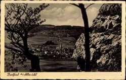 Postcard Dietfurt Altmühltal, Totalansicht vom Berg aus gesehen