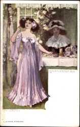 Künstler Ak Volkhart, Max, Novemberfest 1899, Junge Frau, Blumen