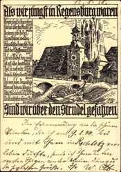 Künstler Ak Regensburg an der Donau Oberpfalz, Fluss, Kirche, Boot, Wellen