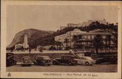 Postcard Philippeville Algerien, Place Marque et la Gare, Straßenpartie, Autos