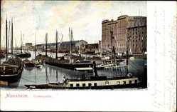 Postcard Mannheim, Partie am Hafen, Mannheimer Lagerhausgesellschaft