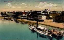 Postcard Riesa an der Elbe Sachsen, Dampfschifflandeplatz, Salondampfer, Häuser