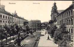 Postcard Mannheim in Baden Württemberg, Parkanlage mit Statuen am Schillerplatz