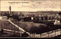 Ak Warthelager Posen, Truppenübungsplatz, Wasserturm, Baracken