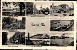 Postcard Riesa Elbe, Elbbrücke, Bahnhof, Rathaus, Klosterkirche, Rathausfreutreppe