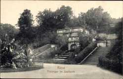 Postcard Riesa Sachsen, Blick auf die Freitreppe im Stadtpark