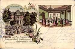 Litho Berlin Pankow Schönholz, Villa St. Leonards, Ballsaal, Borussia, Rudolph